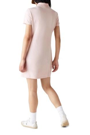 Lacoste - Lacoste Pamuklu Slim Fit Polo Yaka Streç Mini Bayan Elbise EF5473 ADY AÇIK PEMBE (1)