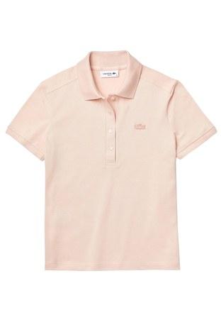 Lacoste - Lacoste Pamuklu T Shirt Kadın Polo PF5462 ADY PEMBE