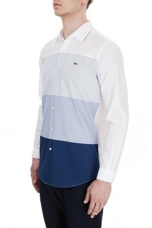 Lacoste Regular Fit % 100 Pamuk Renk Bloklu Erkek Gömlek CH7424 NDJ BEYAZ