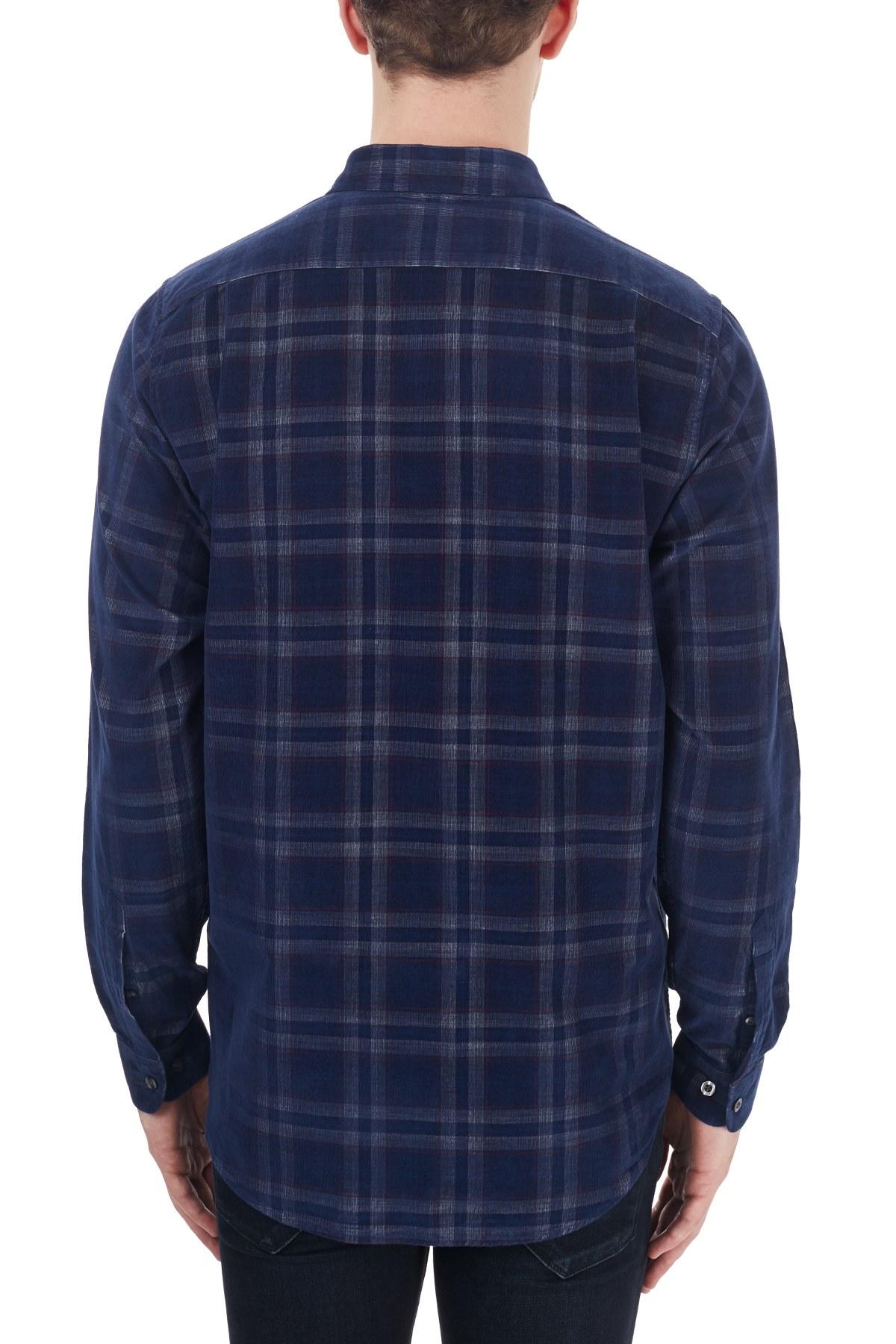 Lacoste Regular Fit Ekose Desenli Düğmeli Yaka % 1 Erkek Gömlek CH2113 13L LACİVERT