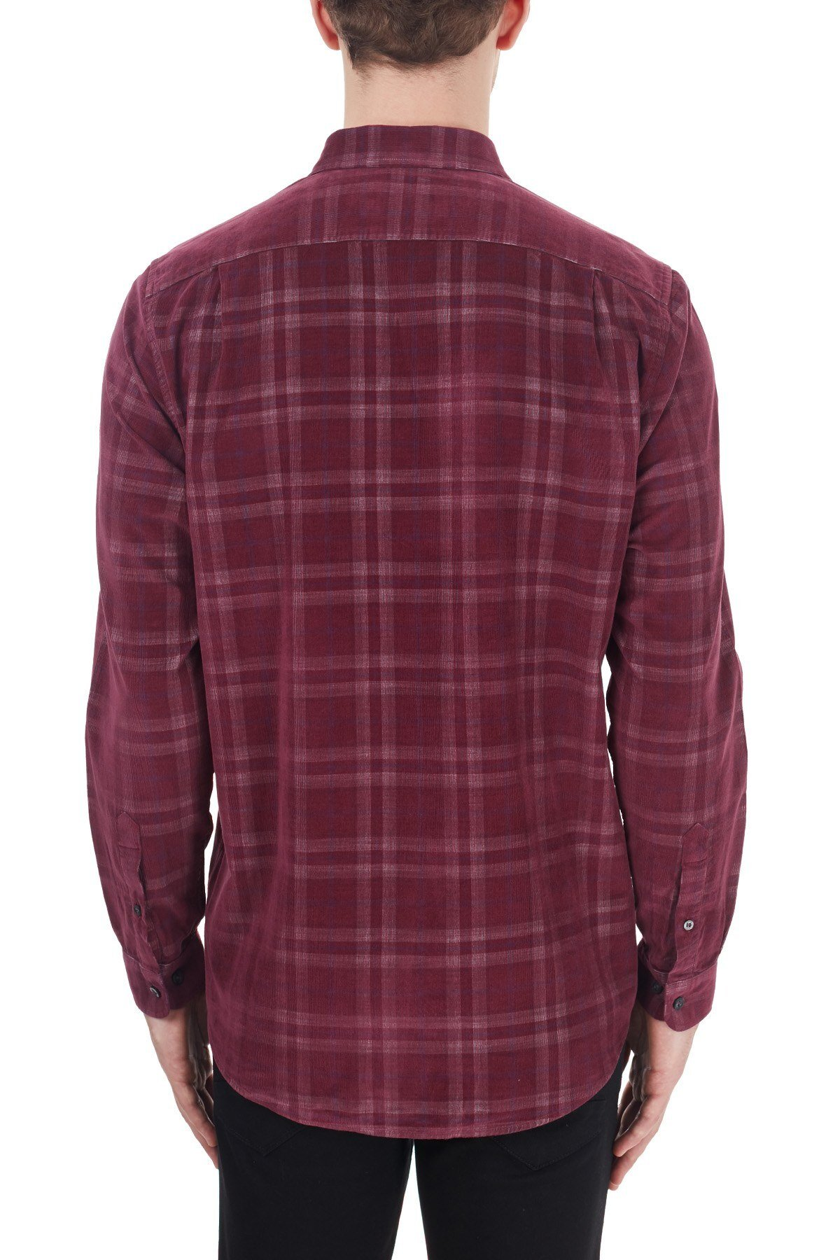 Lacoste Regular Fit Ekose Desenli Düğmeli Yaka % 100 Pamuk Erkek Gömlek CH2113 13R BORDO