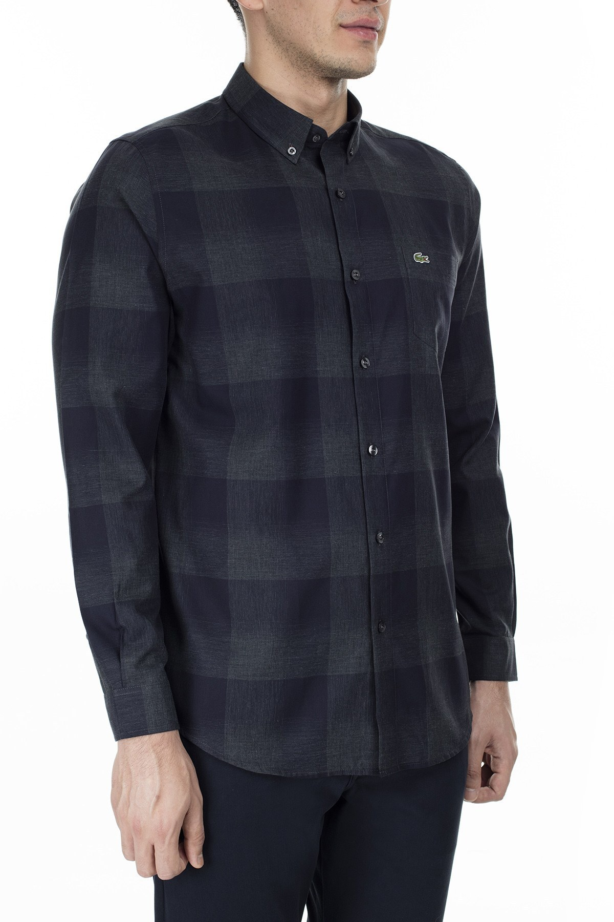 Lacoste Regular Fit Ekose Desenli Erkek Gömlek CH2016 16L FÜME