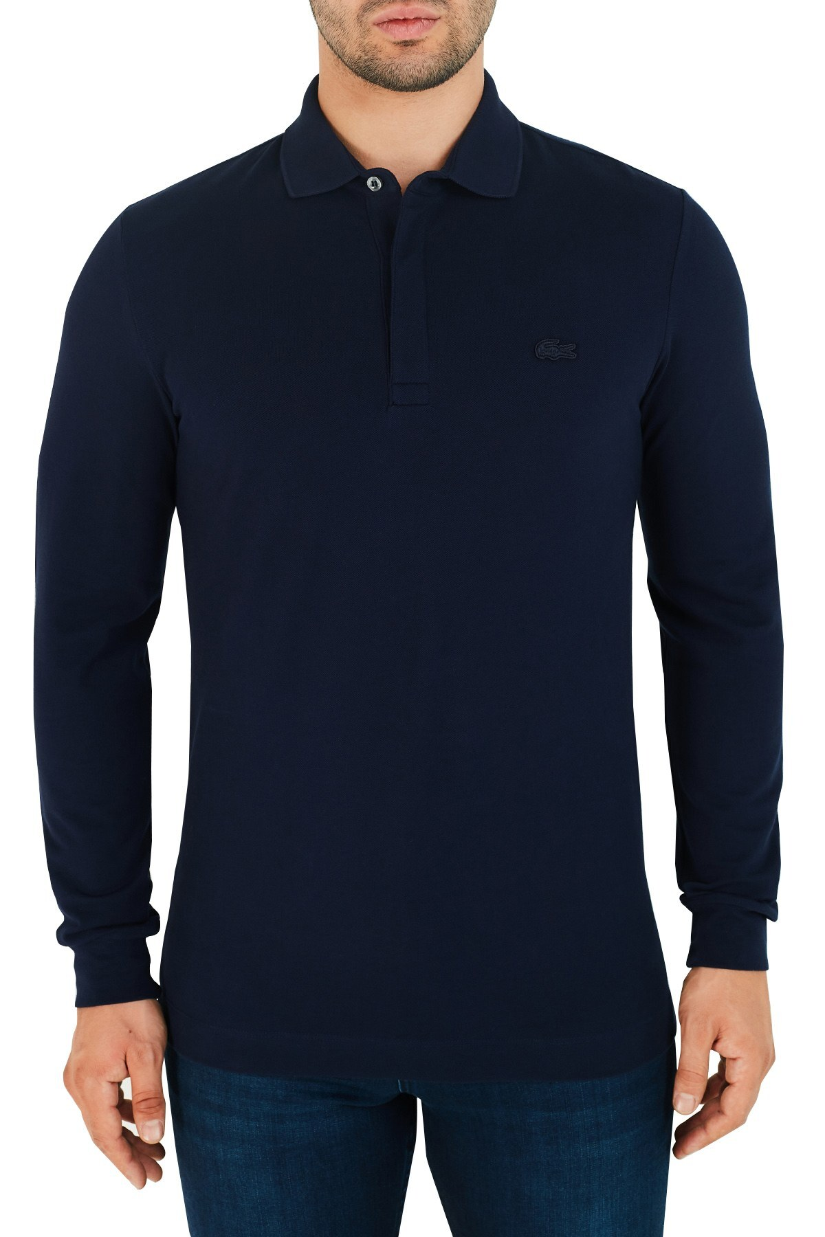 Lacoste Regular Fit Pamuklu Düğmeli T Shirt Erkek Polo PH2481 166 LACİVERT