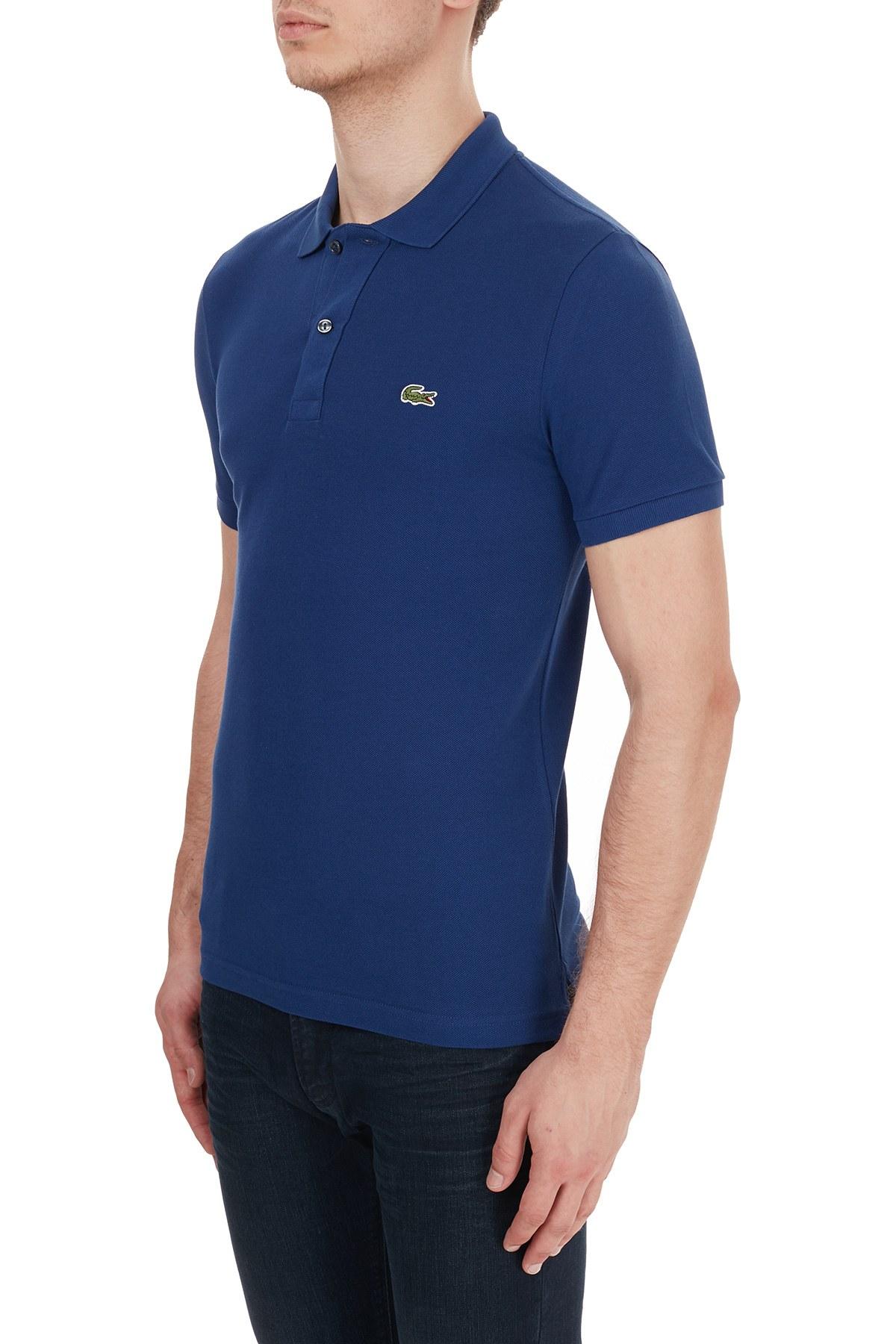 Lacoste Slim Fit % 100 Pamuk Düğmeli T Shirt Erkek Polo PH4012 F9F SAKS-MAVİ