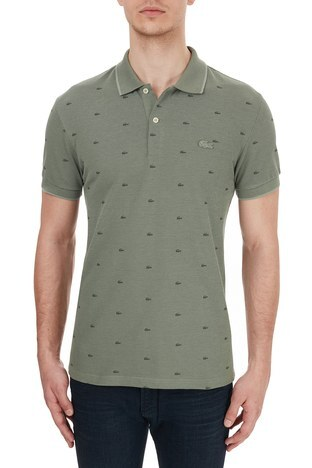 Lacoste - Lacoste Slim Fit Baskılı % 100 Pamuk Düğmeli T Shirt Erkek Polo PH5061 UT3 HAKİ