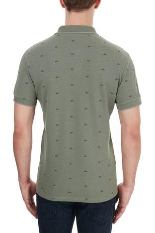 Lacoste - Lacoste Slim Fit Baskılı % 100 Pamuk Düğmeli T Shirt Erkek Polo PH5061 UT3 HAKİ (1)