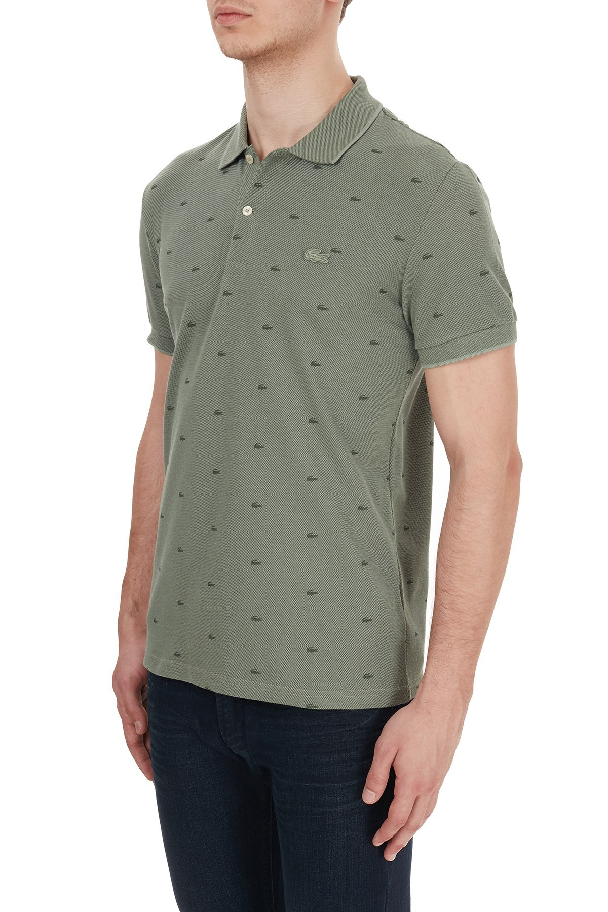 Lacoste Slim Fit Baskılı % 100 Pamuk Düğmeli T Shirt Erkek Polo PH5061 UT3 HAKİ