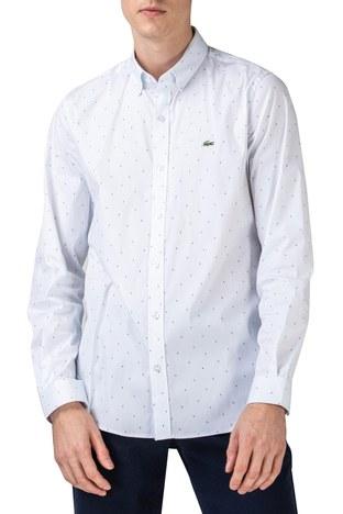 Lacoste - Lacoste Slim Fit Düğmeli Yaka Pamuklu Erkek Gömlek CH0175 75B BEYAZ