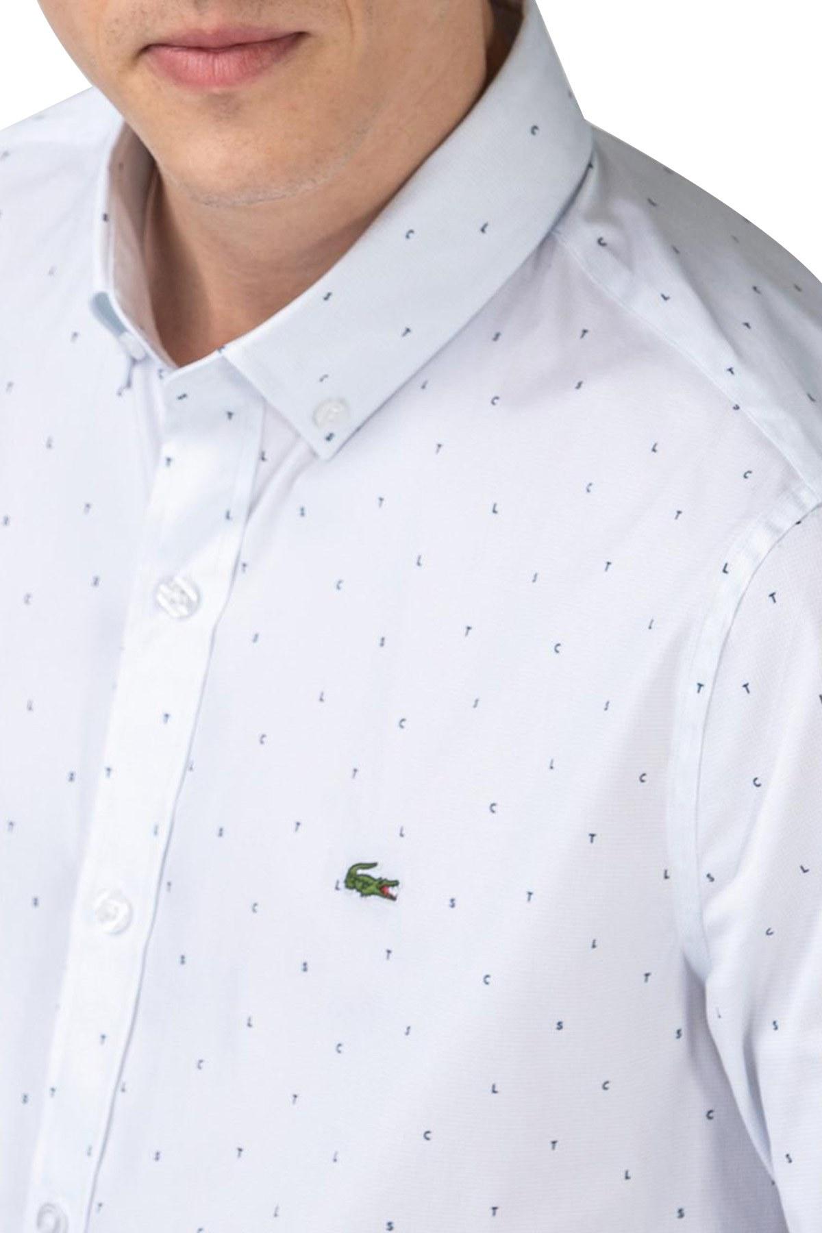 Lacoste Slim Fit Düğmeli Yaka Pamuklu Erkek Gömlek CH0175 75B BEYAZ