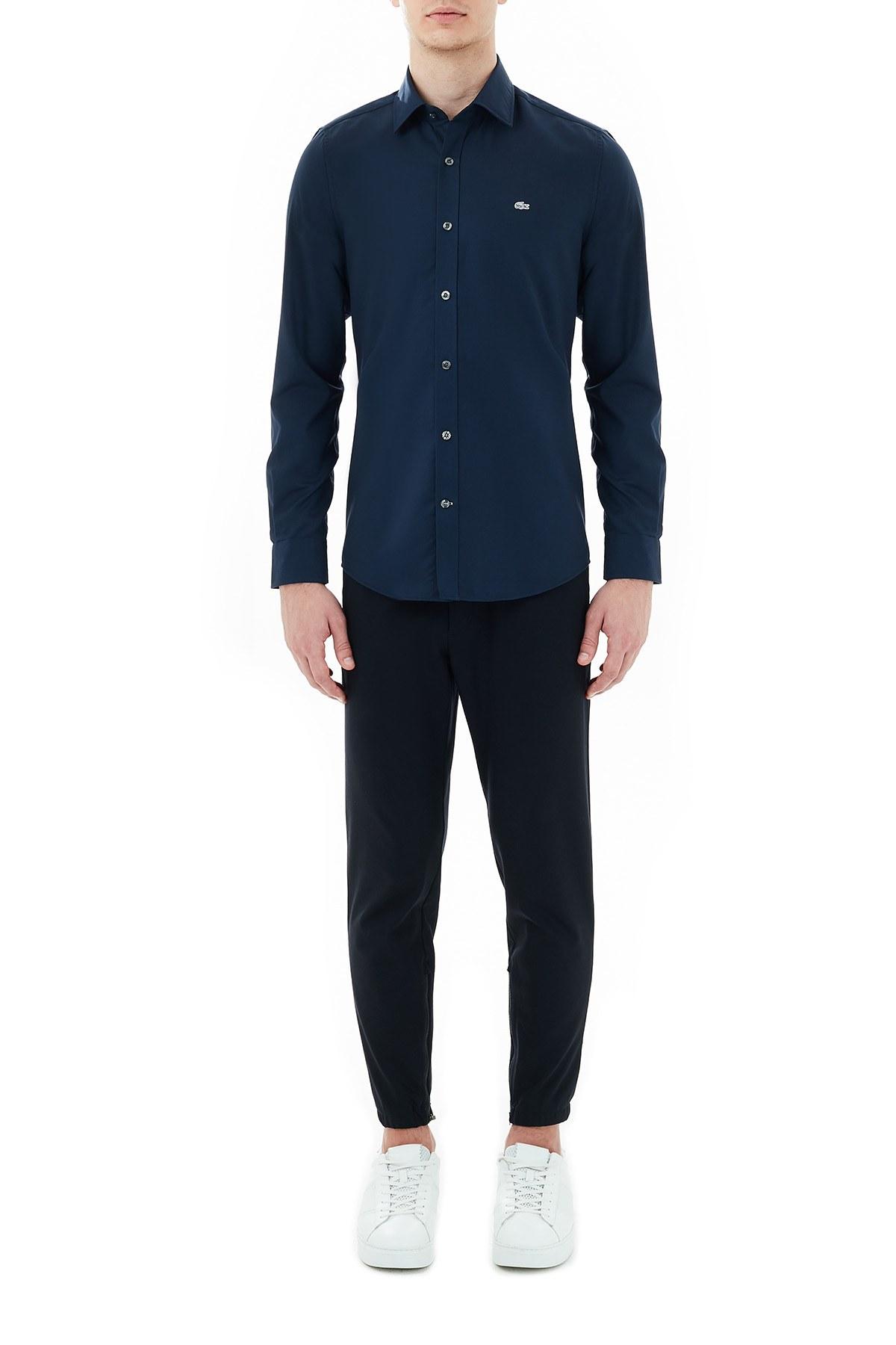 Lacoste Slim Fit Düz Yaka % 100 Pamuk Erkek Gömlek CH6122 423 LACİVERT