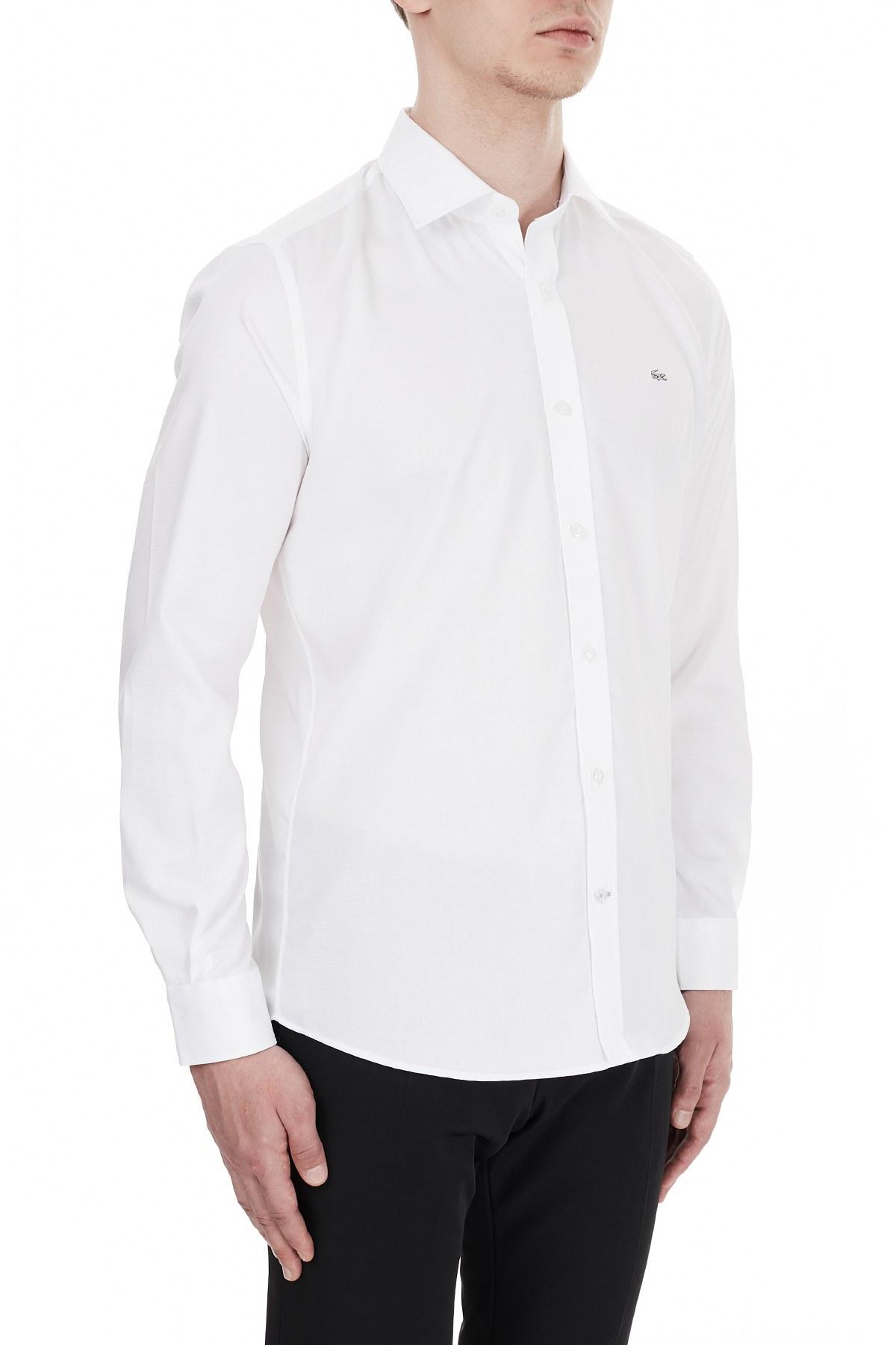 Lacoste Slim Fit Düz Yaka % 100 Pamuk Erkek Gömlek CH6122 800 BEYAZ