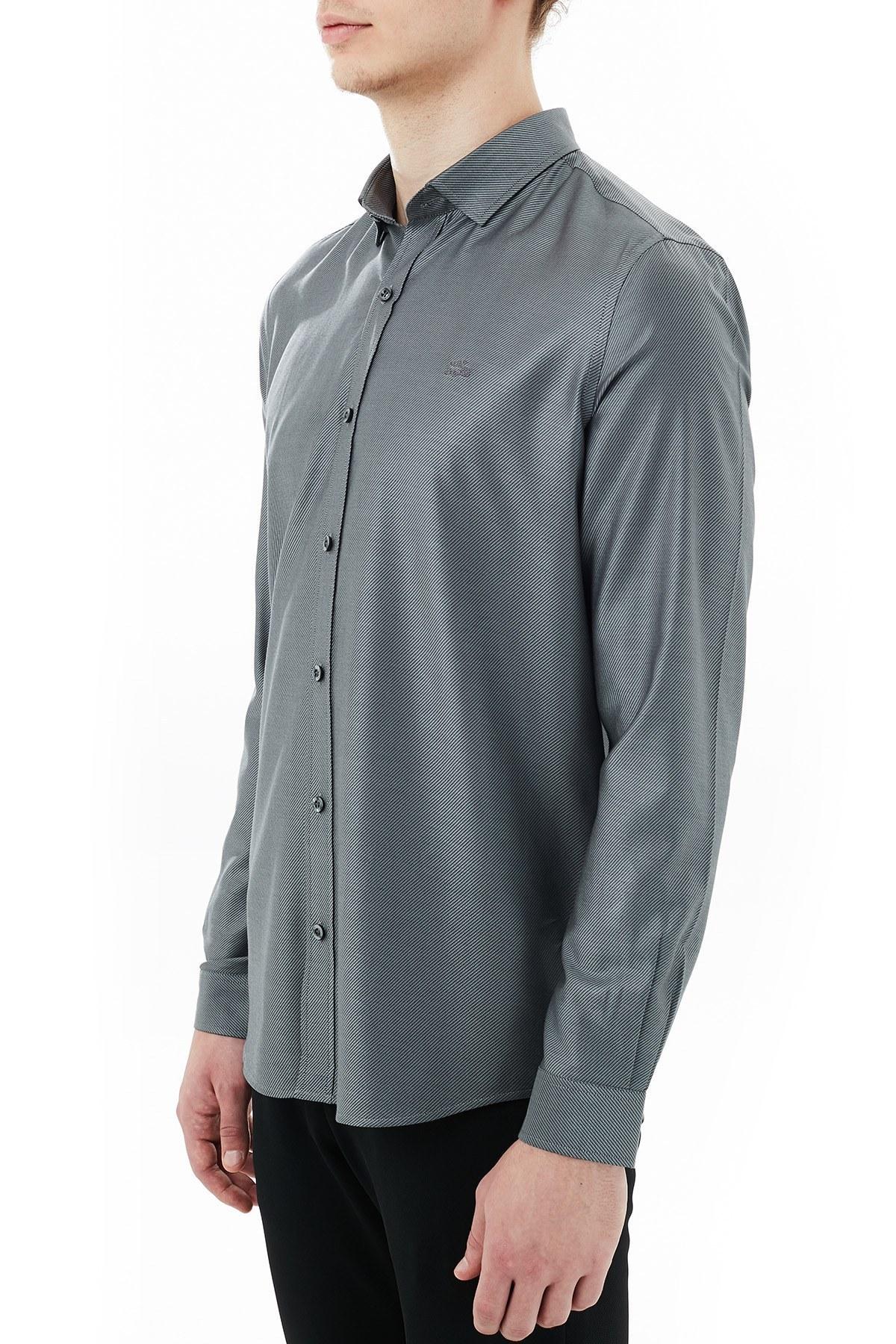 Lacoste Slim Fit Düz Yaka Erkek Gömlek CH2101 01S SİYAH