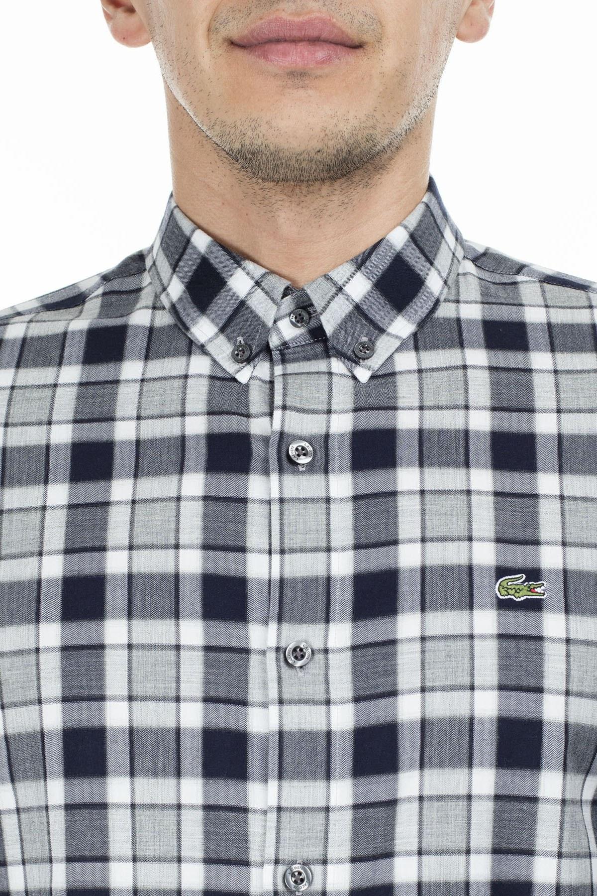 Lacoste Slim Fit Ekose Desenli Erkek Gömlek CH2021 21G GRİ