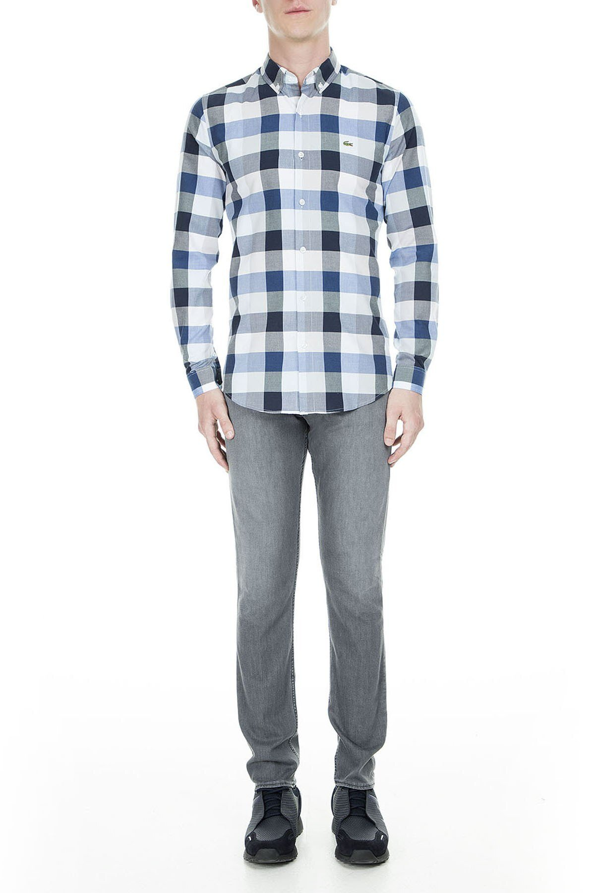 Lacoste Slim Fit Erkek Gömlek CH2015 15S GRİ-MAVİ