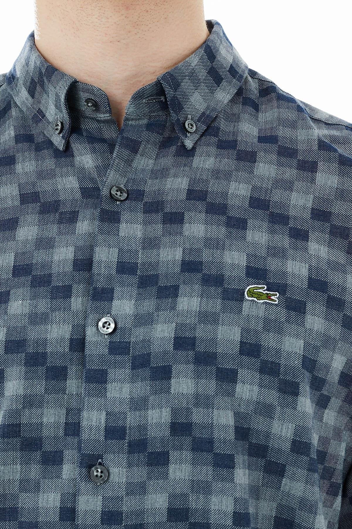 Lacoste Slim Fit Kareli Düğmeli Yaka % 100 Pamuk Erkek Gömlek CH2109 09G LACİVERT