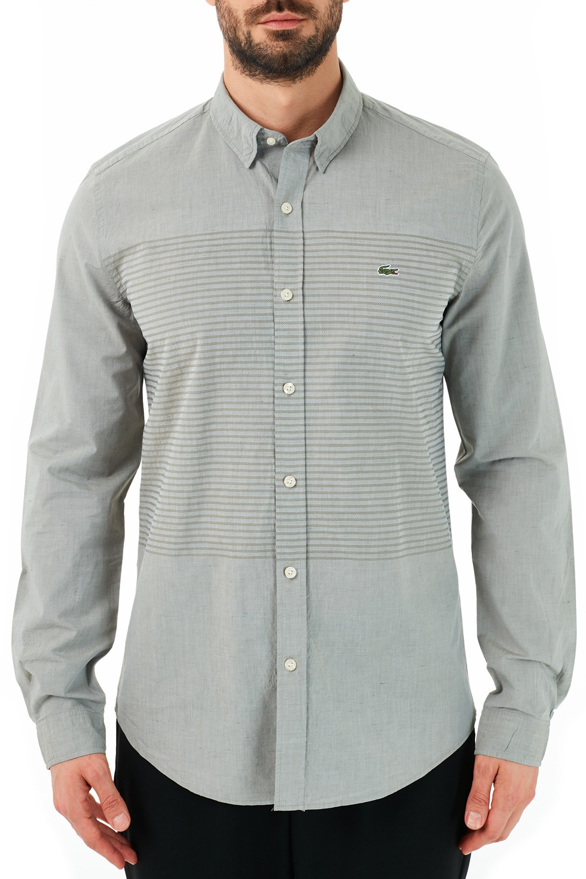 Lacoste Slim Fit Pamuklu Uzun Kollu Erkek Gömlek CH0192 92H HAKİ
