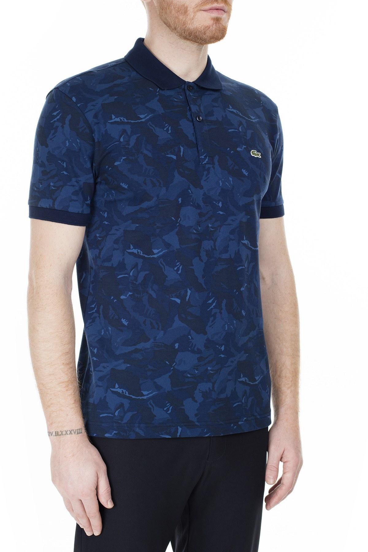 Lacoste Slim Fit T Shirt Erkek Polo PH0061 61L LACİVERT