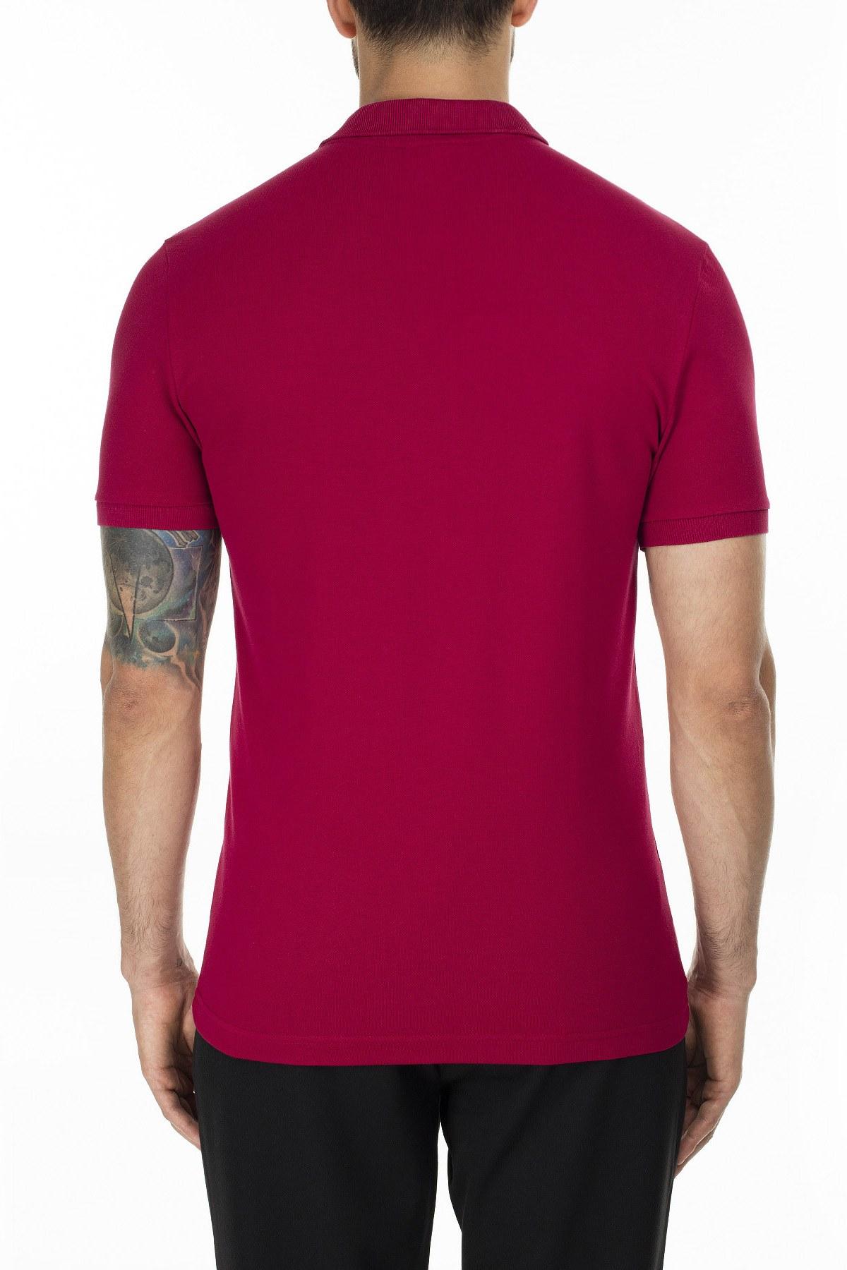 Lacoste Slim Fit T Shirt Erkek Polo PH4014 476 BORDO