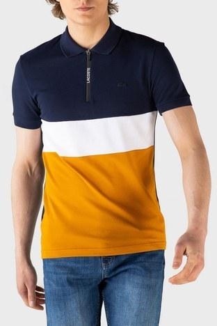 Lacoste - Lacoste Slim Fit Pamuklu Fermuarlı T Shirt Erkek Polo PH0104R 04L LACİVERT-KAHVE
