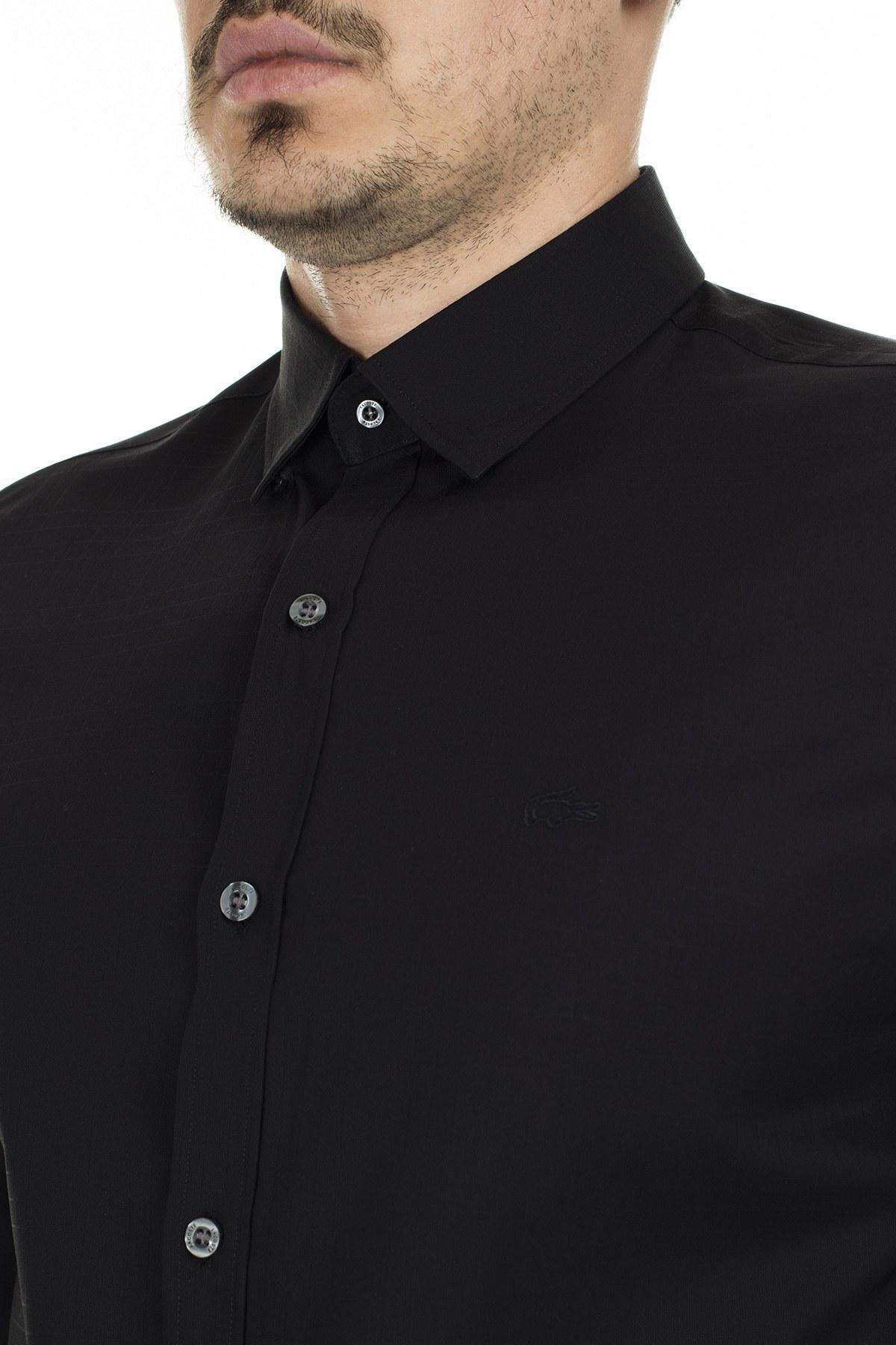 Lacoste Uzun Kollu % 100 Pamuk Slim Fit Erkek Gömlek CH2139 39S SİYAH