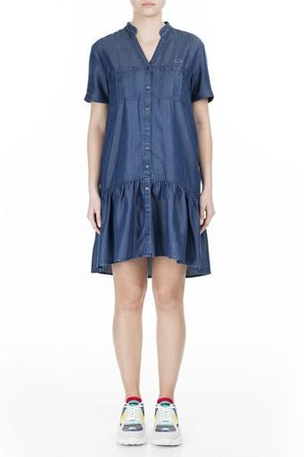 Lacoste V Yaka Kısa Kollu Kadın Elbise EF0015T 15L LACİVERT