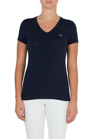 Lacoste - Lacoste V Yaka Pamuklu Kadın T Shirt TF0999 166 LACİVERT