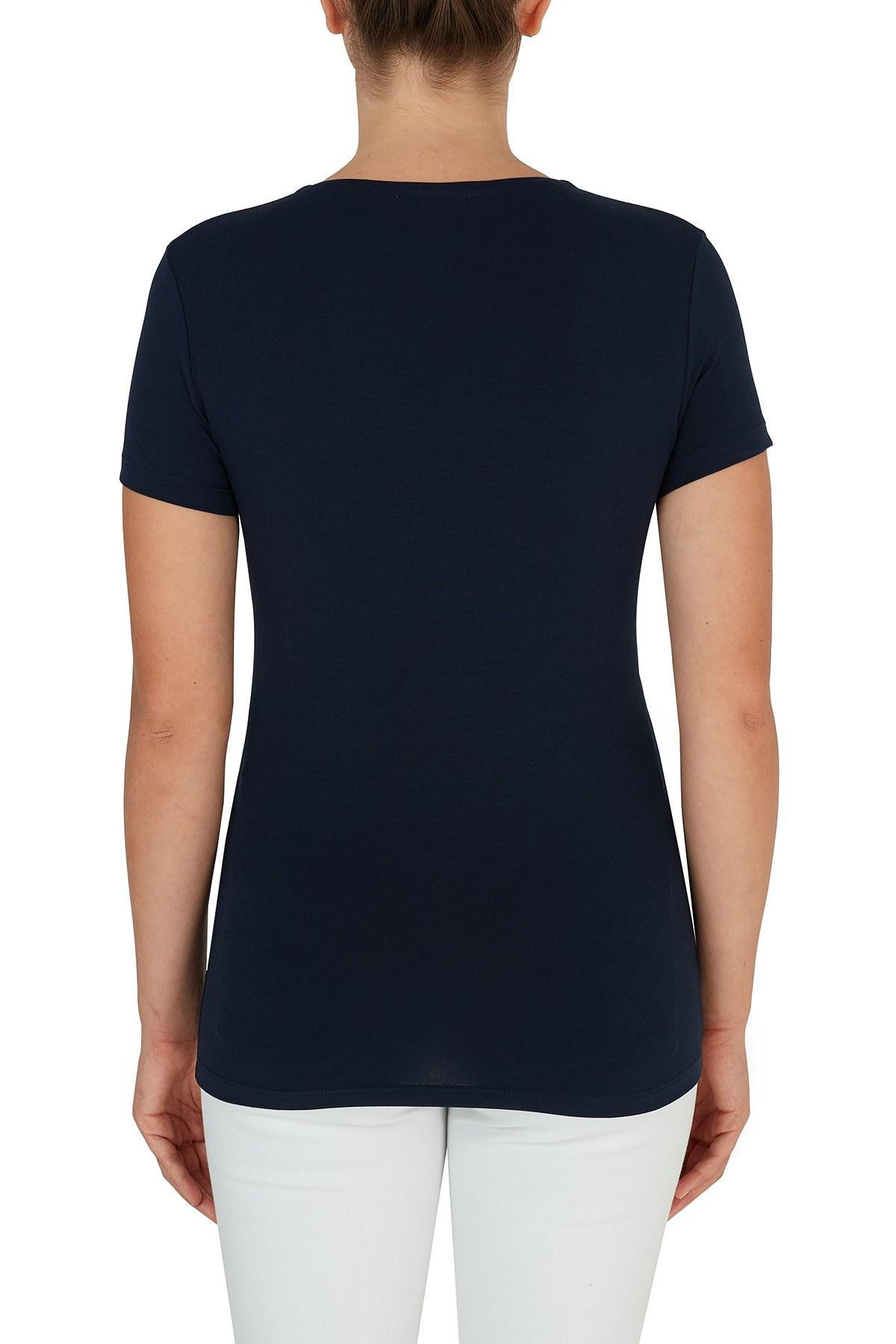 Lacoste V Yaka Pamuklu Kadın T Shirt TF0999 166 LACİVERT