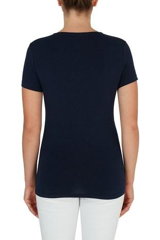 Lacoste - Lacoste V Yaka Pamuklu Kadın T Shirt TF0999 166 LACİVERT (1)