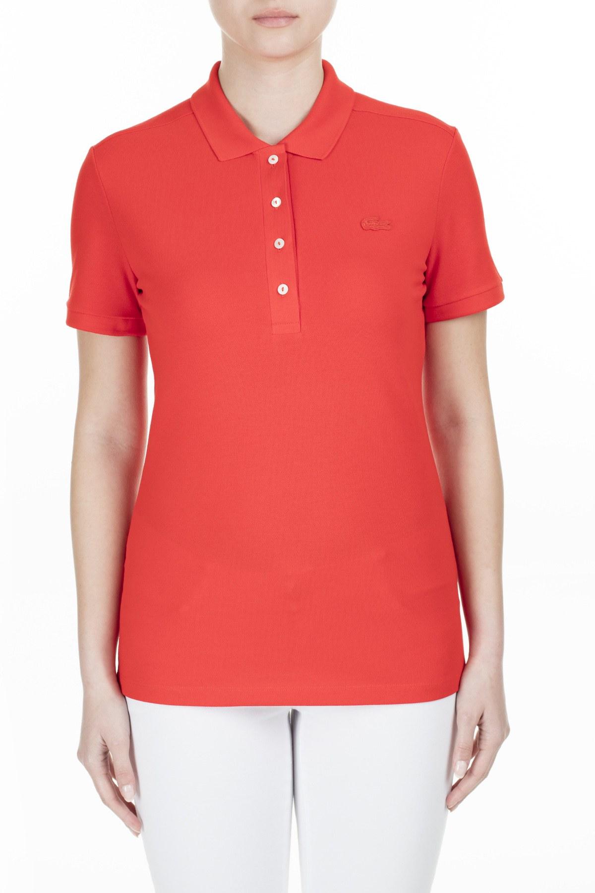Lacoste Yaka T Shirt Kadın Polo PF5462 S5H KIRMIZI