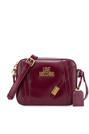 Love Moschino - Love Moschino Baskılı Ayarlanabilir Omuz Askılı Kadın Çanta JC4277PP0BKS0552 BORDO