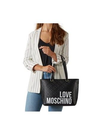 Love Moschino - Love Moschino Baskılı Omuz Kadın Çanta JC4229PP0BKE000A SİYAH (1)