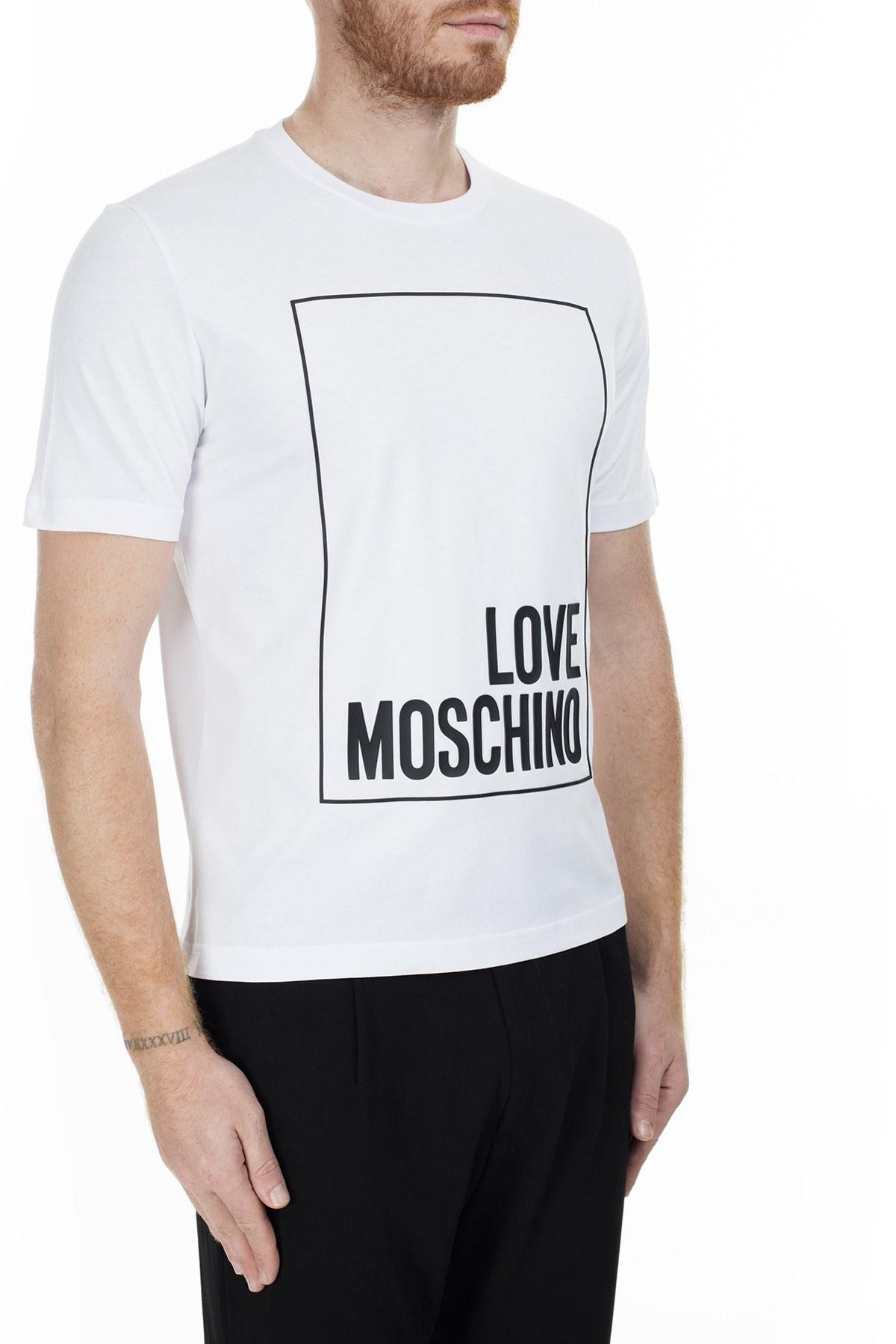 Love Moschino Erkek T Shirt S M47322RM3876 A00 BEYAZ