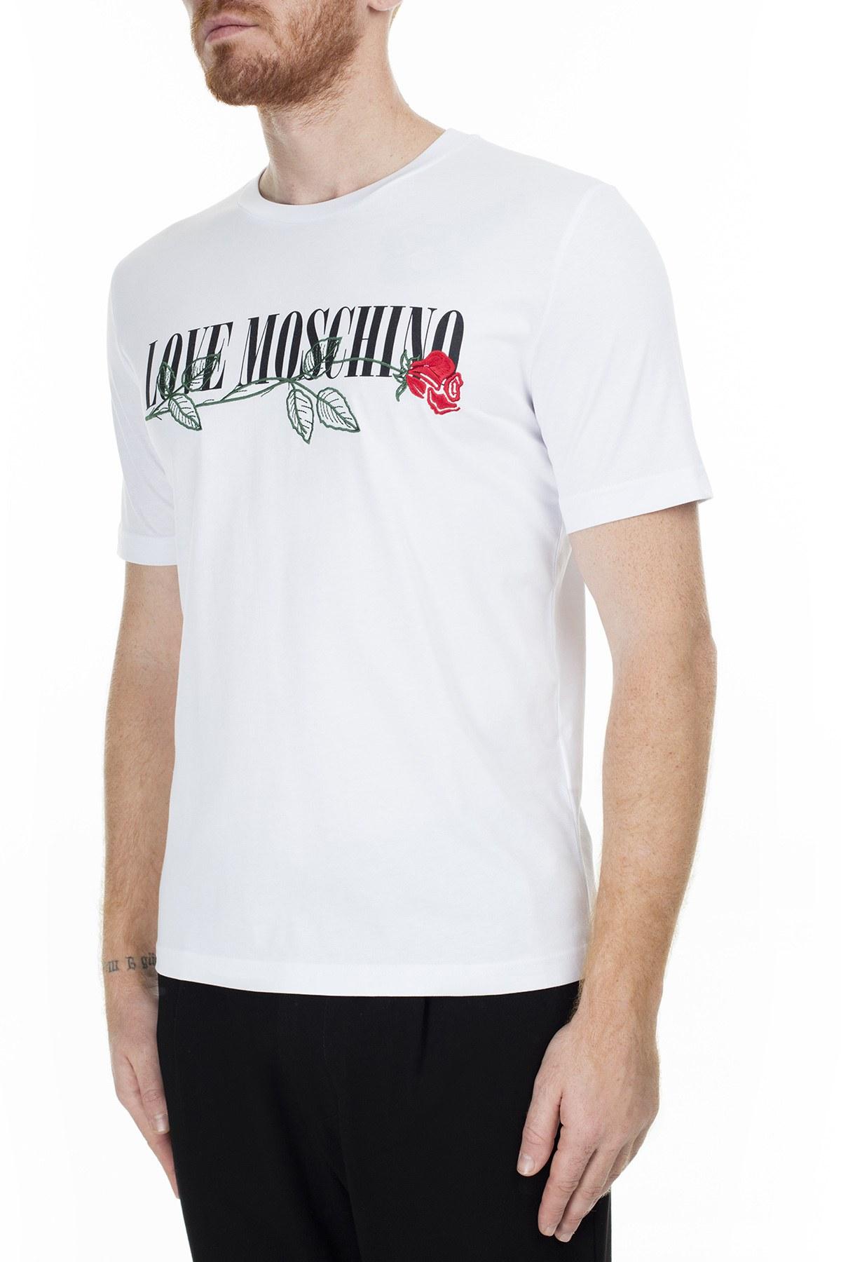 Love Moschino Erkek T Shirt S M47323JM3876 A00 BEYAZ