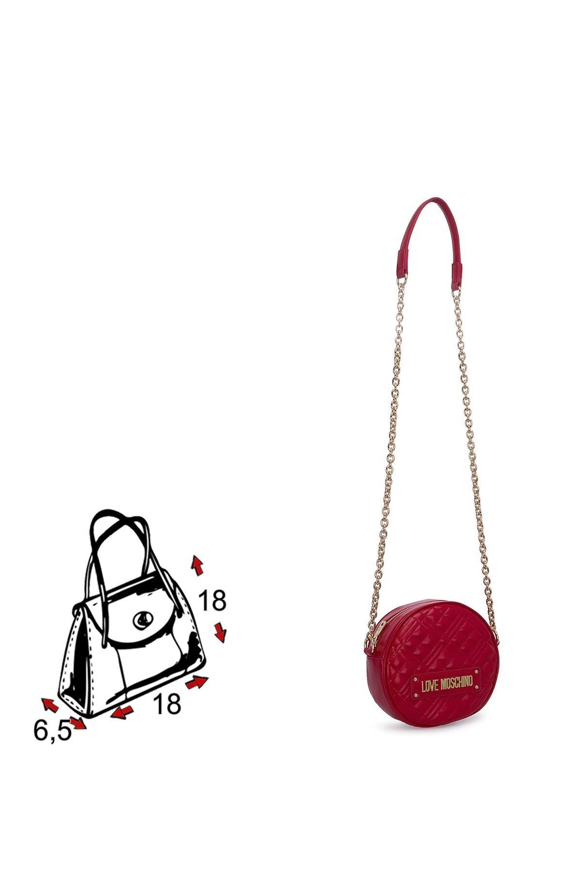Love Moschino Logo Baskılı Ayarlabilir Zincir Omuz Askılı Bayan Çanta JC4003PP1BLA0500 KIRMIZI