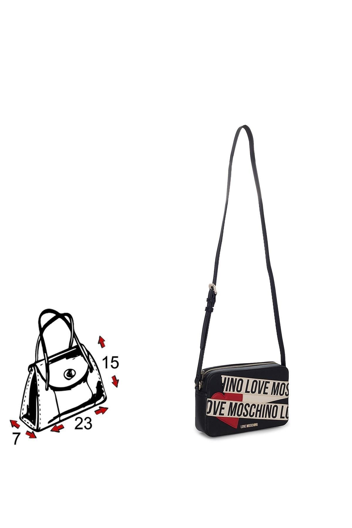 Love Moschino Logo Baskılı Ayarlanabilir Askılı Kadın Çanta JC4027PP1BLD100A SİYAH-BEJ