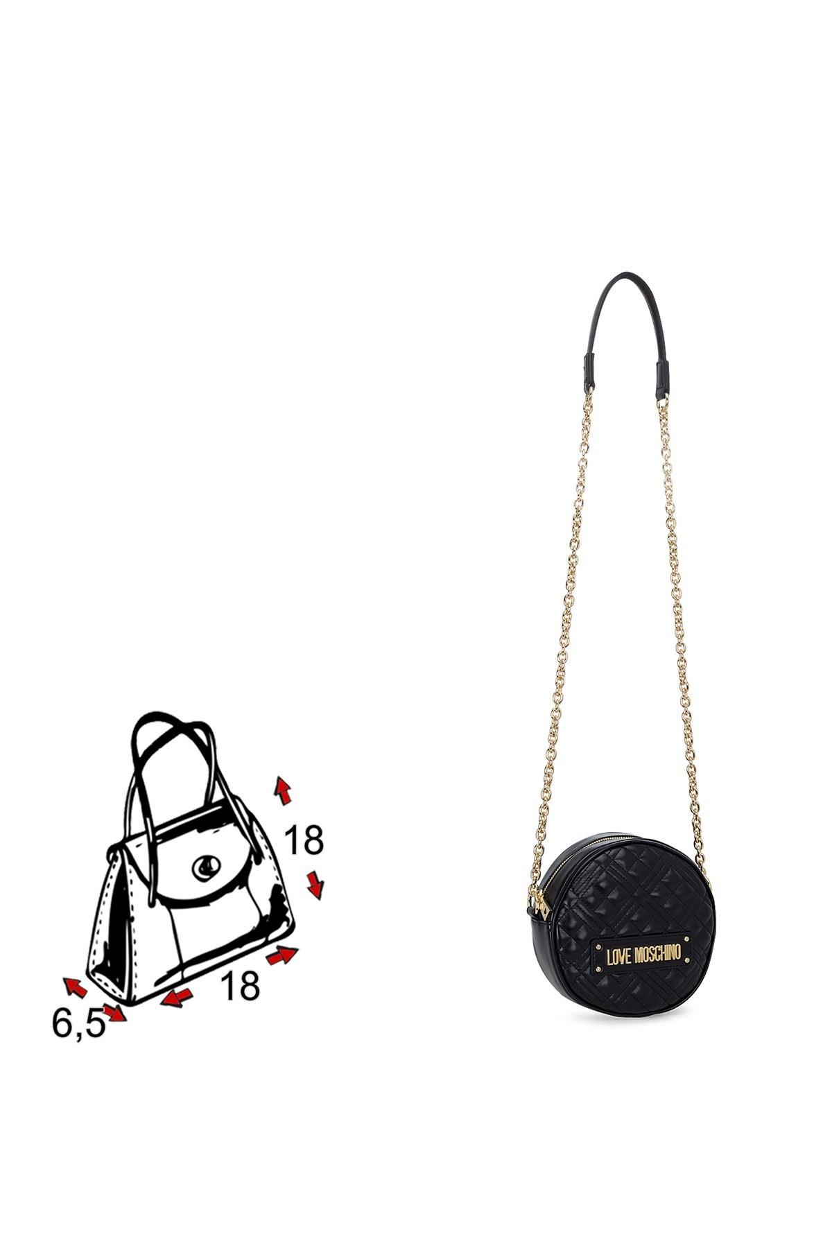 Love Moschino Logo Baskılı Ayarlanabilir Zincir Omuz Askılı Kadın Çanta JC4003PP1BLA0000 SİYAH