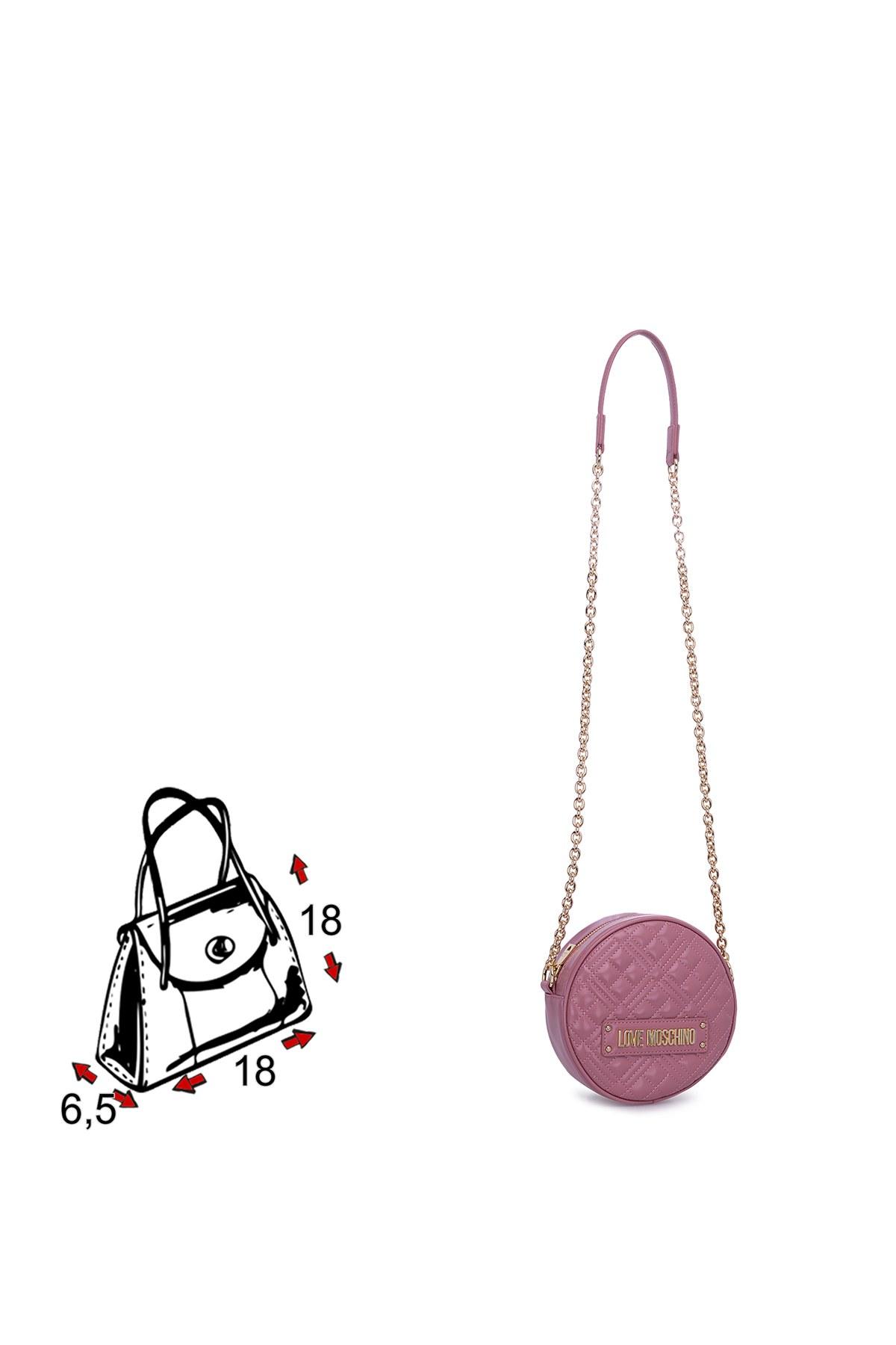 Love Moschino Logo Baskılı Ayarlanabilir Zincir Omuz Askılı Kadın Çanta JC4003PP1BLA0621 PUDRA