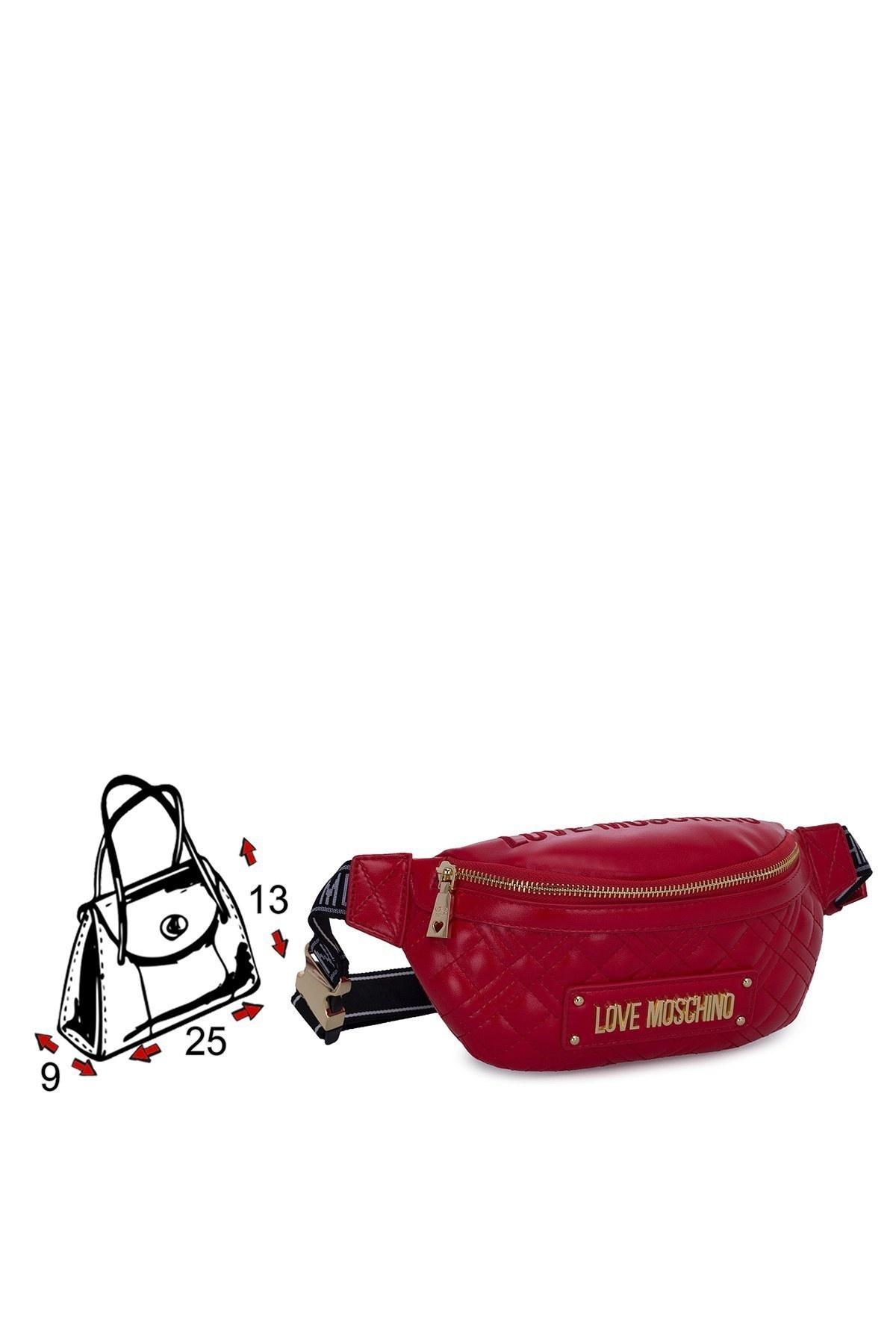 Love Moschino Logo Baskılı Fermuarlı Kadın Çanta JC4011PP1BLA0500 KIRMIZI