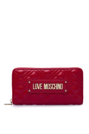 Love Moschino - Love Moschino Logo Baskılı Fermuarlı Kadın Cüzdan JC5600PP1BLA0500 KIRMIZI