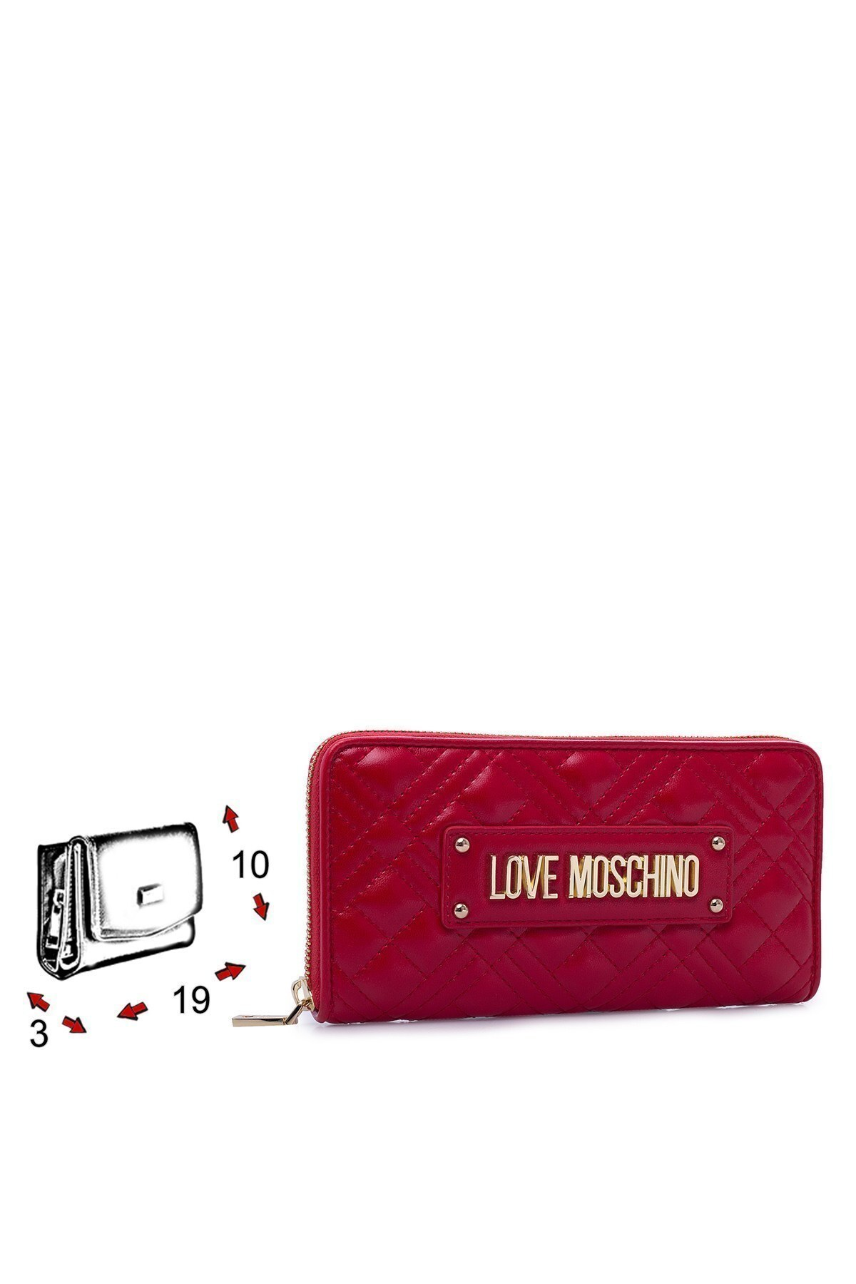 Love Moschino Logo Baskılı Fermuarlı Kadın Cüzdan JC5600PP1BLA0500 KIRMIZI