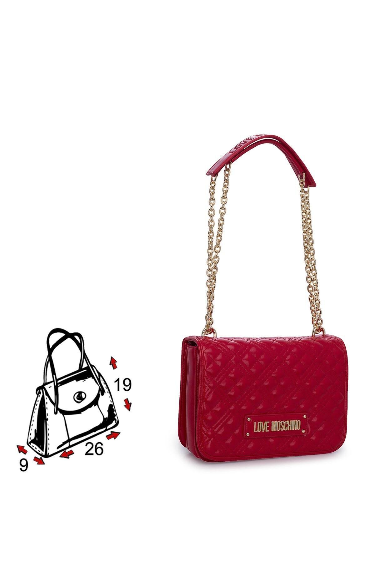 Love Moschino Logo Baskılı Zincir Detaylı Kadın Çanta jc4000pp1bla0500 KIRMIZI