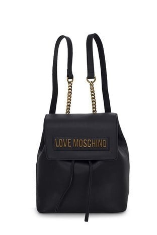 Love Moschino - Love Moschino Logo Baskılı Zincir Detaylı Kadın Çanta JC4069PP1BLK0000 SİYAH