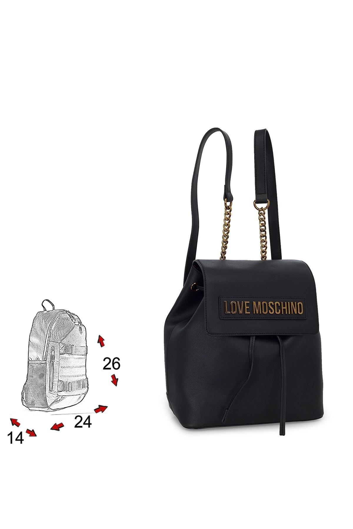Love Moschino Logo Baskılı Zincir Detaylı Kadın Çanta JC4069PP1BLK0000 SİYAH