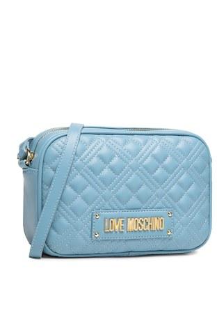 Love Moschino - Love Moschino Marka Logolu Kapitoneli Omuz Bayan Çanta JC4010PP1CLA0700 MAVİ