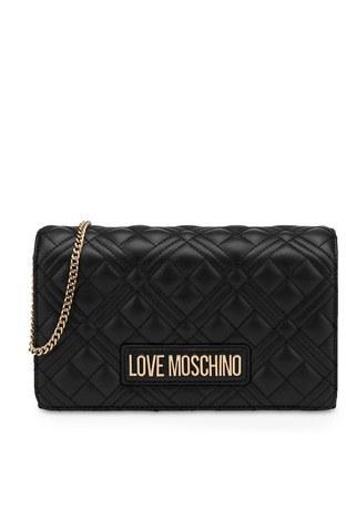 Love Moschino - Love Moschino Marka Logolu Kapitoneli Zincir Askılı Omuz Kadın Çanta JC4079PP1CLA2000 SİYAH