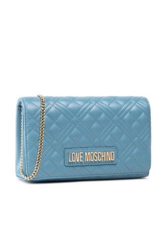 Love Moschino - Love Moschino Marka Logolu Kapitoneli Zincir Askılı Omuz Kadın Çanta JC4079PP1CLA2700 MAVİ