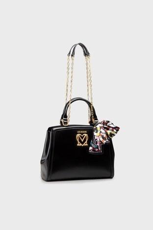 Love Moschino - Love Moschino Marka Logolu Zincir Askılı Fularlı Bayan Çanta S JC4260PP0CKK0000 SİYAH