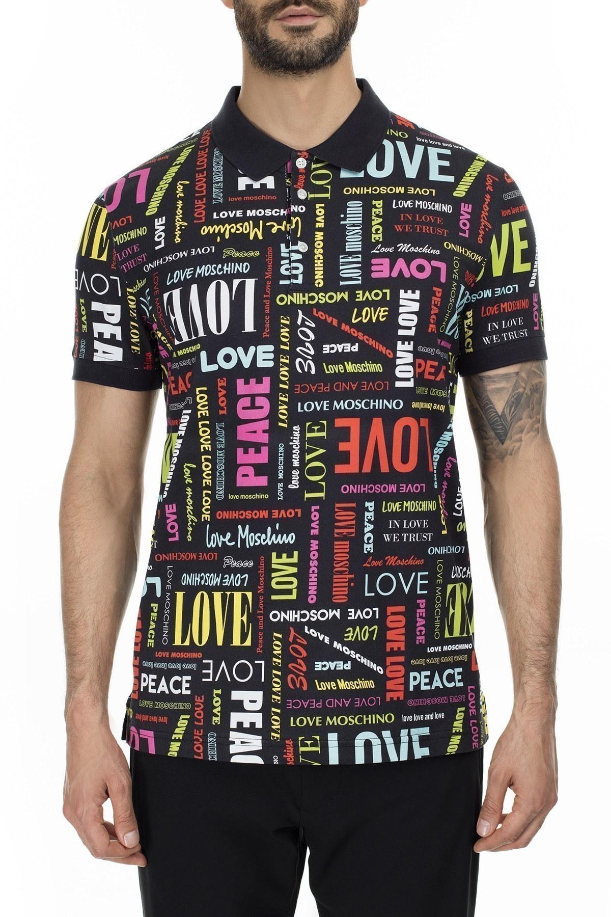 Love Moschino T Shirt Erkek Polo S M829500M4051 0027 SİYAH