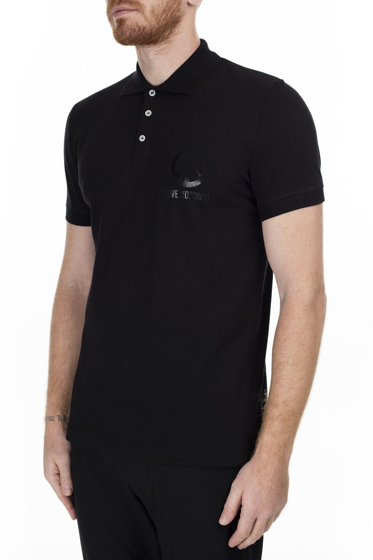 Love Moschino T Shirt Erkek Polo S M829519E1809 C74 SİYAH