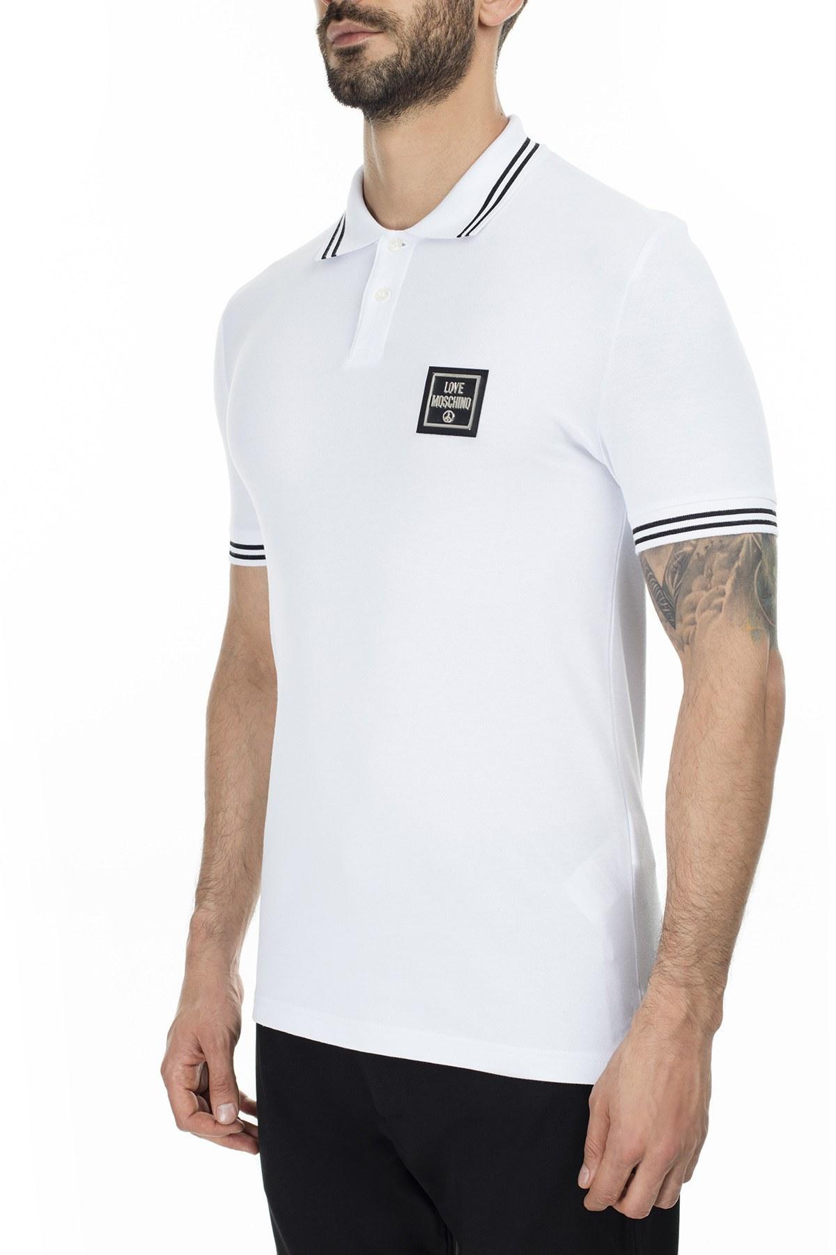 Love Moschino T Shirt Erkek Polo S M83048EE1809 A00 BEYAZ